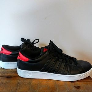 K-Swiss Black and Red Leather Sneakers